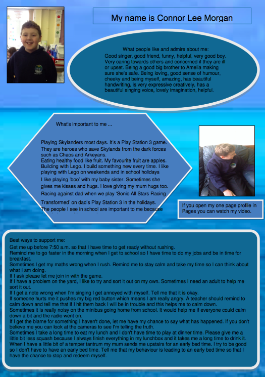 An example One Page Profile. This one belongs to Connor.